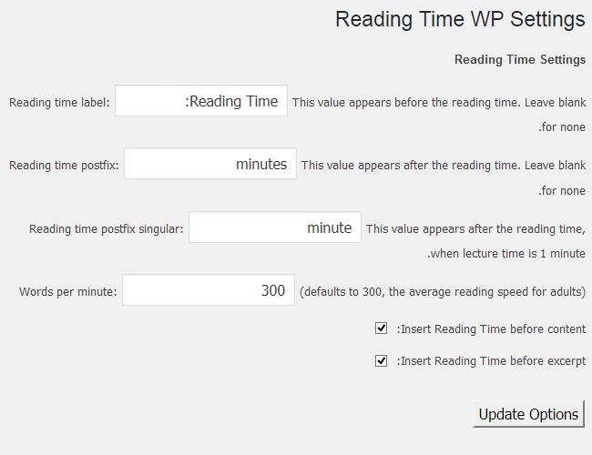 تنظیمات پلاگین Reading Time WP