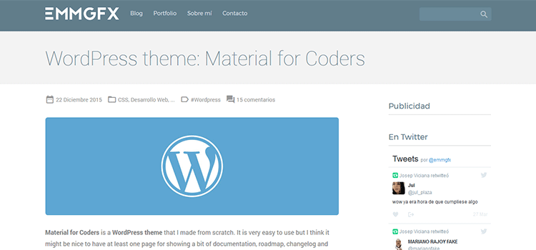 قالب متریال دیزاین وردپرسی Coders