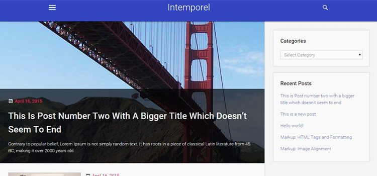 قالب متریال دیزاین وردپرسی Intemporel